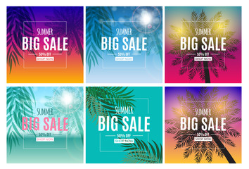 Abstract Summer Sale Background with Palm Leaves Collection Set. Vector Illustration