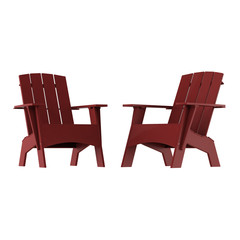 Two red garden wooden chairs on a white background