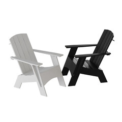 Two white and black garden wooden chairs on a white background