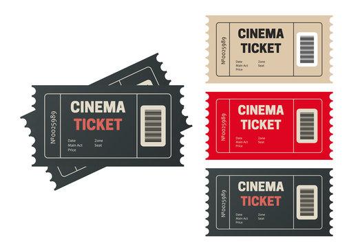 Cinema tickets. Movie tickets. Event icons