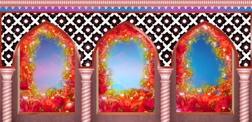 Eastern arches with columns in flowers, sunlight
