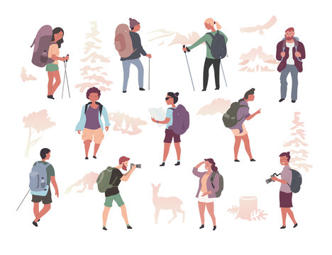 People Hiking Characters Isolated