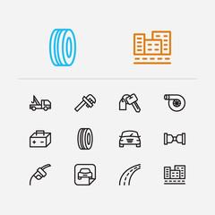 Auto icons set. Safe travel and auto icons with car logo, car badge and car rent. Set of mechanical for web app logo UI design.