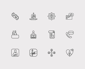 Customer service icons set. Quality and customer service icons with model, customer and loyalty. Set of voting for web app logo UI design.