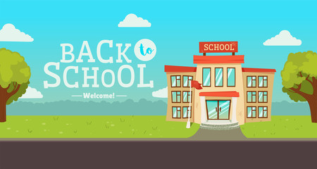 Welcome back to school banner. Street with educational building exterior