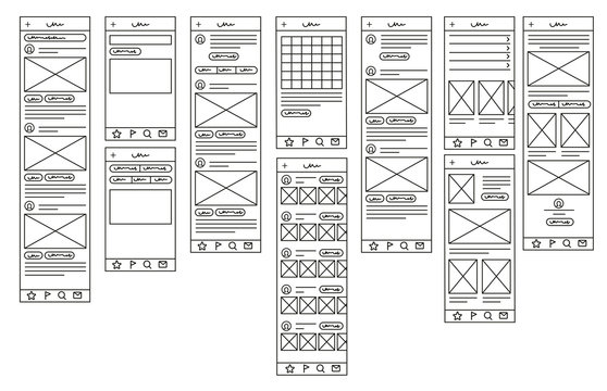 Mock up for mobile applications. Prototypes for mobile applications. Linear style. Linear design. Vector illustration Eps10 file