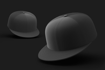 Two baseball caps isolated on a black background. Mock up. 3d rendering