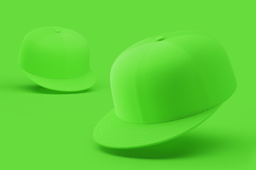 Green mock up, blank hat template, various kinds, isolated on bright background. 3d rendering