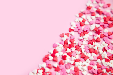 pink background and many sugar red,pink hearts