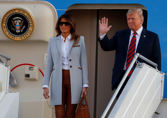 U.S. President Donald Trump and first lady Melania Trump arrive at Helsinki-Vantaa airport in Vantaa