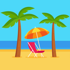 Beach scene with palm trees