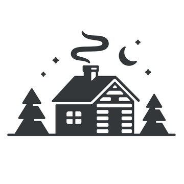 Cabin in woods icon