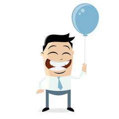 happy businessman holding a blue balloon