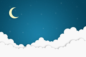 Moon in the clouds in the night sky. Image of a crescent moon and stars beautiful night background for the lettering. Picture is made from paper elements