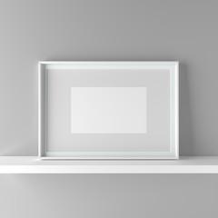 Elegant frame stand on the shelf. 3D Graphic illustration