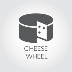 Cheese wheel glyph icon. Dairy product black flat label. Natural healthy food logo. Vector for grocery stores, menu, price list and other thematic sites and mobile apps. Illustration for cooking theme