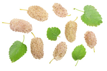 Fresh ripe white mulberry berries with leaves isolated on white background. Top view. Flat lay