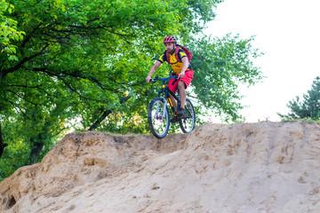 Professional enduro cyclist rides a mountain bike, free space.