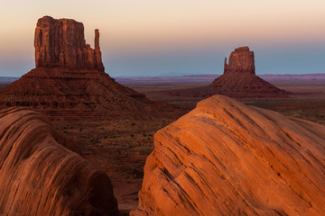 East and West Mitten Buttes at sunset, Monument Valley Navajo Tribal Park on the Arizona-Utah border, USA