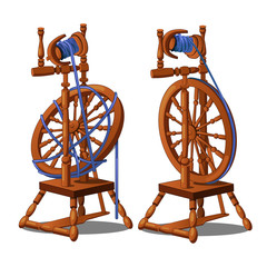 Set of a working and broken antique wooden spinning wheel with yarn and bobbins isolated on a white background. Vector illustration.