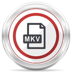 Mkv file glossy silver metallic chrome border round web icon on white background