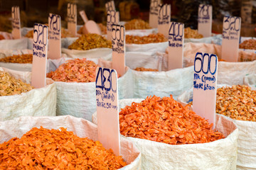 Various Dried Shrimp For Sale At Market