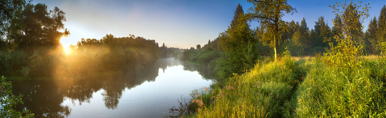 Wall Murals River summer landscape panorama with river and sunrise
