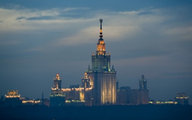 The Moscow State University building is seen during sunset after rain in Moscow
