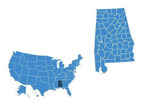 Map of Alabama state
