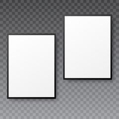 Realistic photo frame mock up on transparent background. Vector.