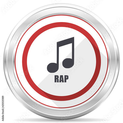 Rap music silver metallic chrome border round web icon on white