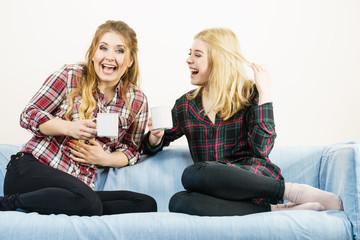 Female friends sitting on sofa having fun