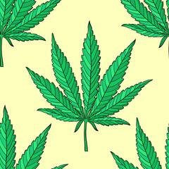Hand drawn marijuana leaf seamless pattern