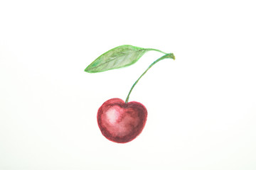 Hand Drawn Watercolor Painting of Ripe Juicy Single Sweet Cherry with Stem Green Leaf in Doodle Kids Style.  White Paper Background. Beautiful Food Poster with Copy Space. Design Element