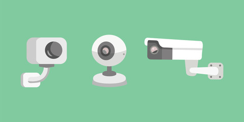 Vector set security camera. CCTV cartoon illustration. Safety and watching.