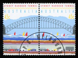 AUSTRALIA - CIRCA 1992: a set of two stamps printed by AUSTRALIA shows Sydney Harbor Bridge and Tunnel, circa 1992.
