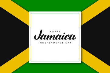 Vector realistic isolated greeting card with typography for Jamaica Independence Day for decoration and covering on the flag background.