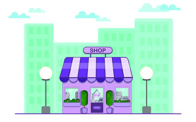 Shop. A small shop in the city. Vector illustration.