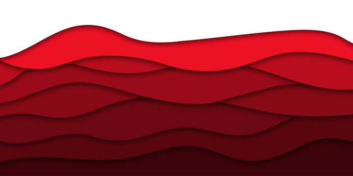 Vector realistic isolated red paper cut layer background for decoration and covering. Concept of geometric abstract design.