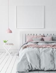 Mock-up in modern bedroom, Scandinavian style, 3d render