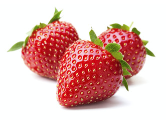Wall Mural - ripe red strawberry fruits isolated on white background