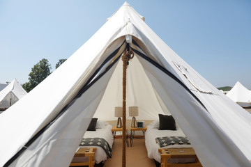 "A ""Journey"" tent is seen at the Collective Governors Island Retreat glamping, a style of camping with amenities and, in some cases, resort-style services not usually associated with traditional camping, campsite at Governors Island in Manhattan, New York"