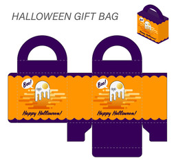 Template paper gift box with handles for Halloween sweets. Monster omelet Ghost on orange background with purple accents with Happy Halloween inscription. Vector