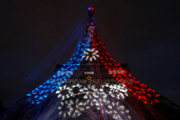 Soccer Football - World Cup - Final - France vs Croatia - Eiffel Tower