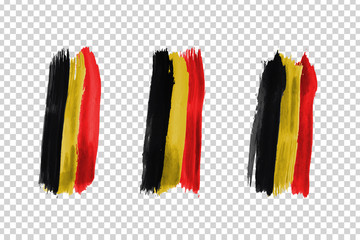 Vector realistic isolated paint on cheeks for football fans with Belgium flag coloring for photo decoration and covering on the transparent background. Concept of football championship.