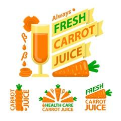 Healthy carrot juice badge emblems