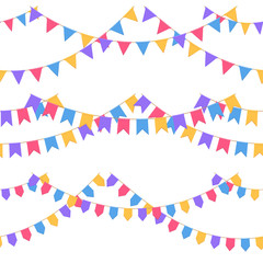 Set of garland with celebration flags chain, purple, pink, blue, yellow pennons with no background, footer and banner for celebration