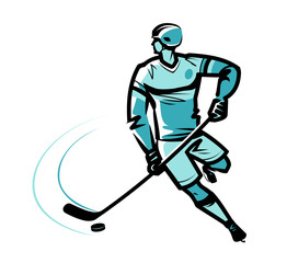 Hockey player. Sketch vector illustration