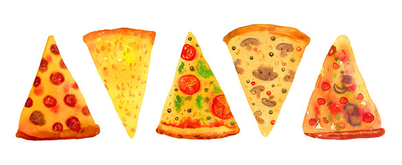 Five sorts of pizza.  Hand drawn stylized watercolor set for posters and cards