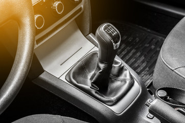 Black shift knob in car